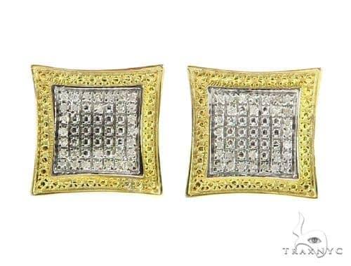 Prong Diamond Silver Earrings 49361 Metal