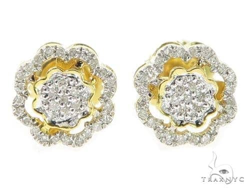 Prong Diamond Silver Earrings 49368 Metal