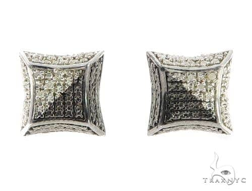 Prong Diamond Silver Earrings 49369 Metal