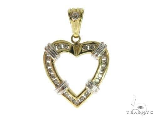 Channel Diamond Heart Pendant 49441 Stone
