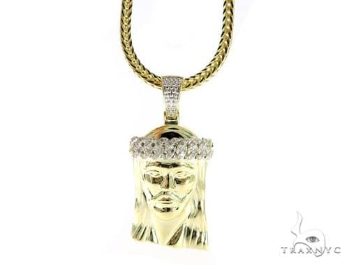 Jesus Diamond Pendant and Chain 49591 Metal
