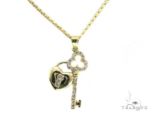 Heart Lock and Key Gold Necklace 49812 Gold
