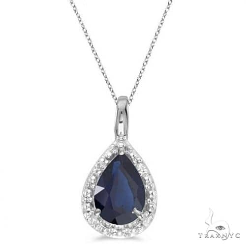 Pear Shaped Blue Sapphire Pendant Necklace 14k White Gold Stone