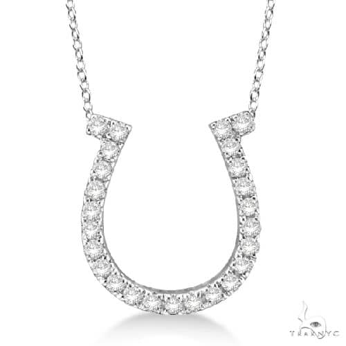 Diamond Horseshoe Pendant Necklace 14k White Gold Stone