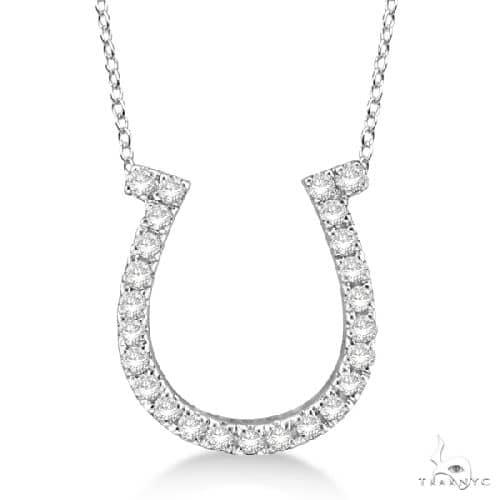 Diamond Horseshoe Pendant Necklace 14k White Gold Stone