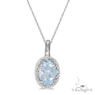 Oval Aquamarine and Diamond Pendant Necklace 14k White Gold Stone