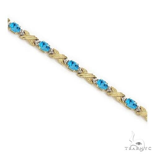 Blue Topaz and Diamond XOXO Link Bracelet 14k Yellow Gold Gemstone & Pearl