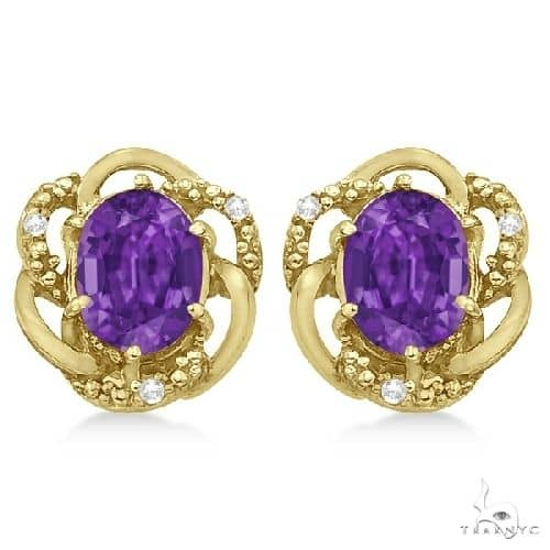 Oval Purple Amethyst and Diamond Earrings in 14K Yellow Gold Stone