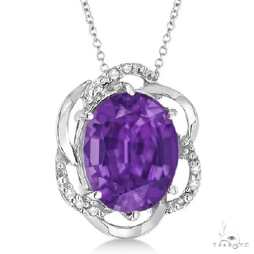 Amethyst and Diamond Flower Shaped Pendant 14k White Gold Stone