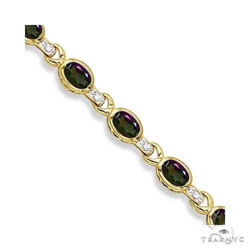 Oval Mystic Topaz and Diamond Link Bracelet 14k Yellow Gold Gemstone & Pearl