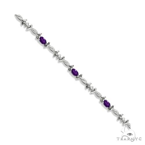 Oval Amethyst and Diamond Barb Wire Bracelet 14k White Gold Gemstone & Pearl