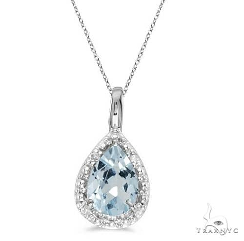 Pear Shaped Aquamarine Pendant Necklace 14k White Gold Stone