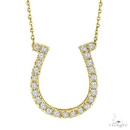 Diamond Horseshoe Pendant Necklace 14k Yellow Gold Stone
