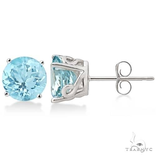 Antique Art Deco Aquamarine Stud Earrings 14k White Gold Stone