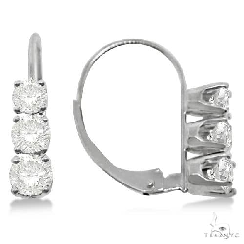 Three-Stone Leverback Diamond Earrings 14k White Gold Stone