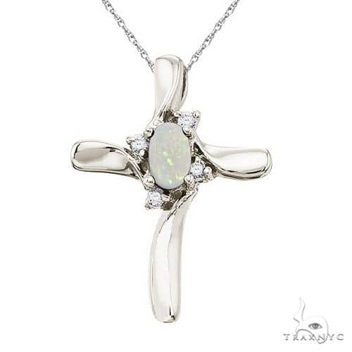 Opal and Diamond Cross Necklace Pendant 14k White Gold Stone