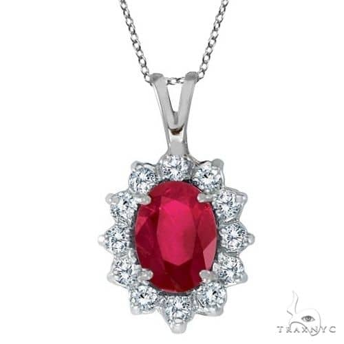 Ruby and Diamond Accented Pendant Necklace 14k White Gold Stone