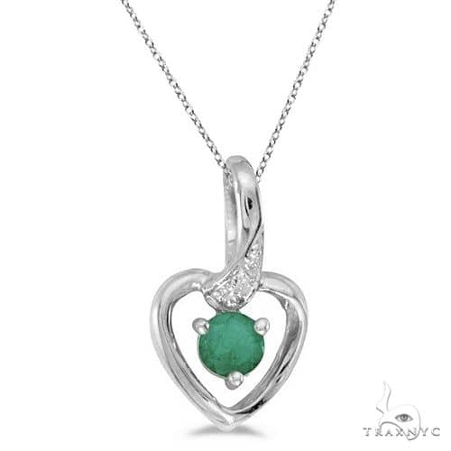 Emerald and Diamond Heart Pendant Necklace 14k White Gold Stone