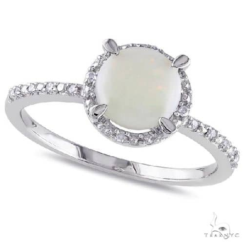 Opal and Halo Diamond Ring Side Stone Accents Sterling Silver Anniversary/Fashion
