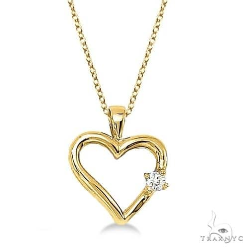 Diamond Open Heart Shaped Pendant Necklace 14k Yellow Gold Stone