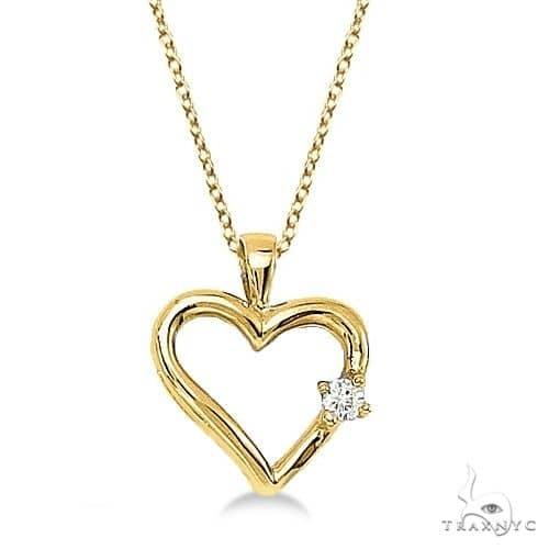 Diamond Open Heart Shaped Pendant Necklace 14k Yellow Gold Stone