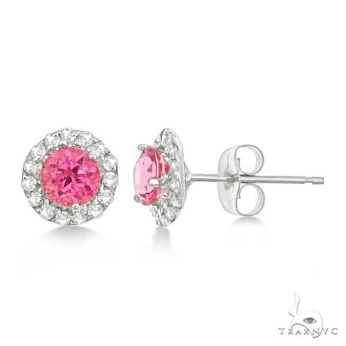Halo Pink Tourmaline and Diamond Stud Earrings 14k White Gold Stone