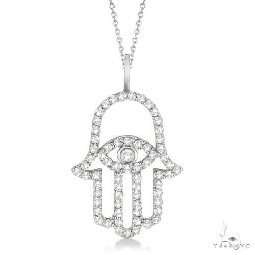 Diamond Hamsa Evil Eye Pendant Necklace 14k White Gold Stone