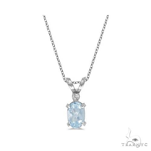 Aquamarine and Diamond Solitaire Filagree Pendant 14K White Gold Stone