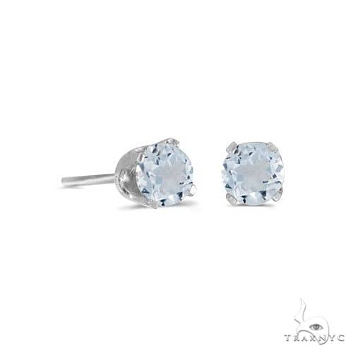 Round Aquamarine Studs Earrings in 14k White Gold Stone