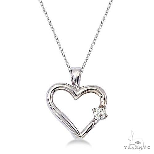 Diamond Open Heart Shaped Pendant Necklace 14k White Gold Stone