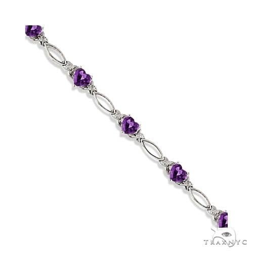 Heart Shaped Amethyst and Diamond Link Bracelet 14k White Gold Gemstone & Pearl
