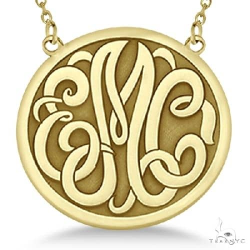 Engraved Initial Circle Monogram Pendant Necklace in 14k Yellow Gold Metal