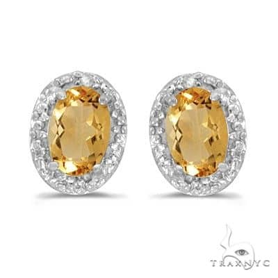 Diamond and Citrine Earrings 14k White Gold (0.90ct) Stone