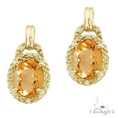 Oval Citrine and Diamond Earrings 14k Yellow Gold (8x6mm) Stone