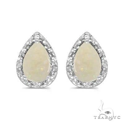 Pear Opal and Diamond Stud Earrings 14k White Gold (1.70ct) Stone