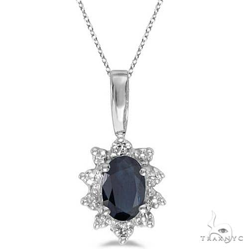 Blue Sapphire and Diamond Flower Shaped Pendant Necklace 14k White Gold Stone