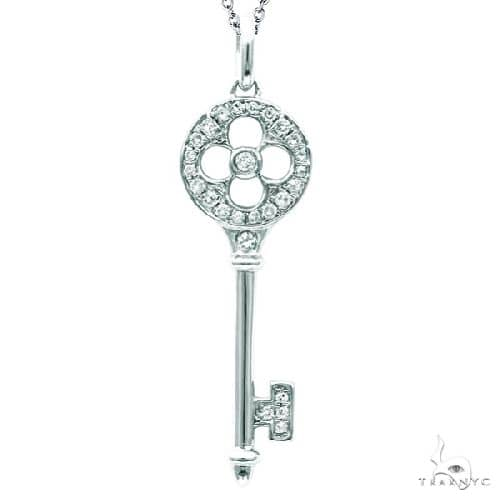 Diamond Clover Key Pendant Necklace in Sterling Silver Stone