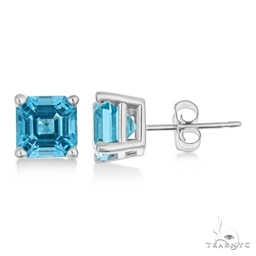 Asscher Cut Blue Topaz Basket Stud Earrings 14k White Gold Stone
