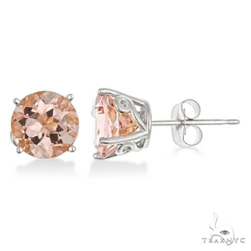 Antique Art Deco Morganite Stud Earrings 14k White Gold Stone