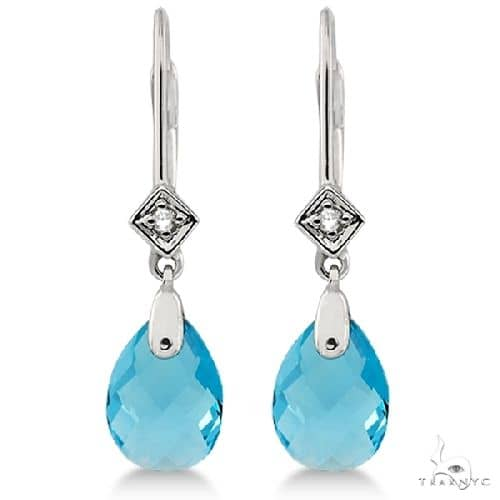 Dangle Diamond and Blue Topaz Briolette Earrings 14k White Gold Stone
