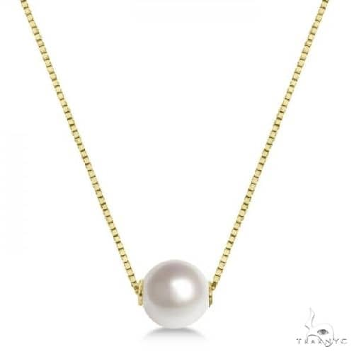 Solitaire Floating Akoya Pearl Pendant Necklace 14K Yellow Gold 7.5mm Stone