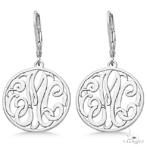 Customized Initial Circle Monogram Earrings in Sterling Silver Metal