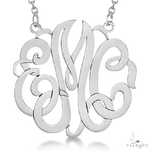 Personalized Monogram Pendant Necklace in 14k White Gold Metal