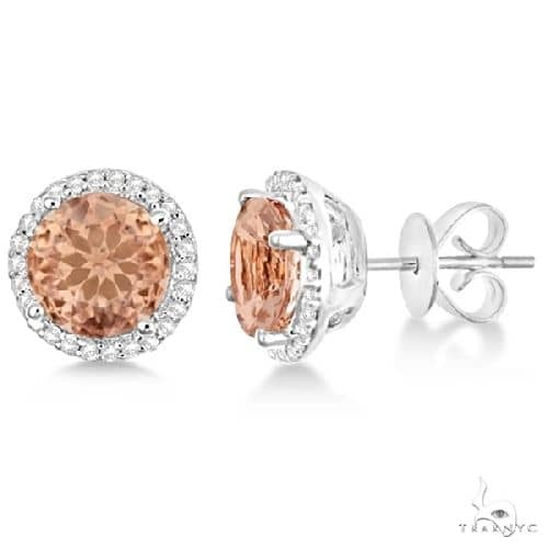 Round Morganite and Diamond Halo Stud Earrings Sterling Silver Stone