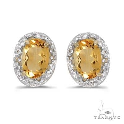 Diamond and Citrine Earrings 14k Yellow Gold (0.90ct) Stone
