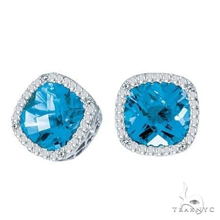 Cushion-Cut Blue Topaz and Diamond Earrings in 14k White Gold Stone