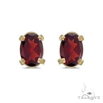 Oval Garnet Studs January Birthstone Earrings 14k Yellow Gold Stone