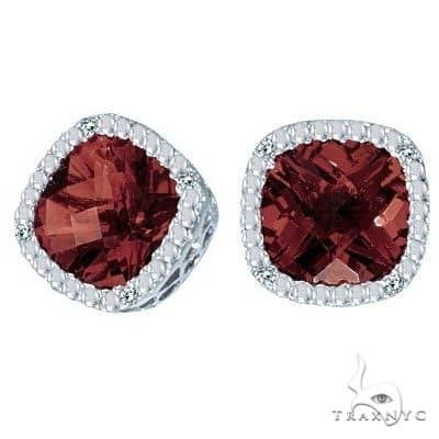 Cushion-Cut Garnet and Diamond Earrings in 14k White Gold Stone