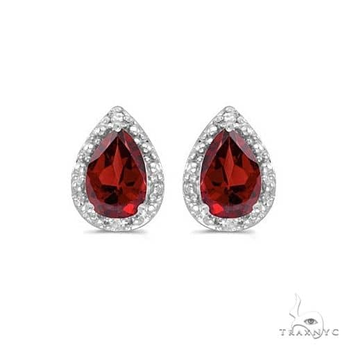 Pear Garnet and Diamond Stud Earrings 14k White Gold (1.70ct) Stone