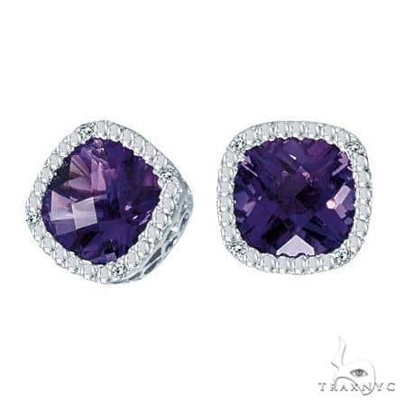Cushion-Cut Amethyst and Diamond Earrings in 14k White Gold Stone